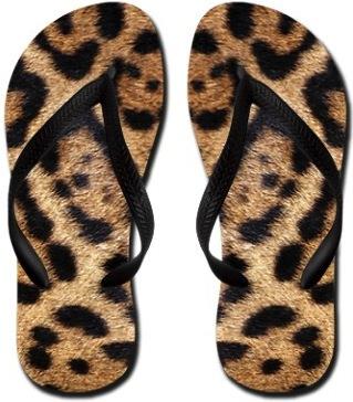 Leopard Pint Flip Flops