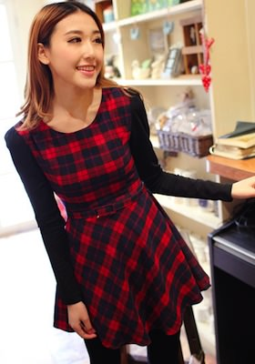 Red Tartan pattern dress