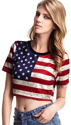 Women's t-shirt with the American flag on it