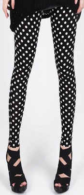 Black leggings with white dots