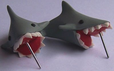 Biting Shark Earrings