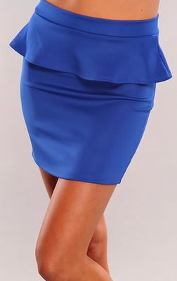 Royal Blue Stretch Fit Peplum Skirt