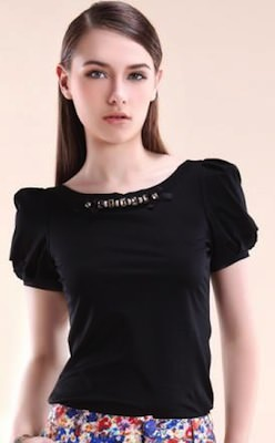 Black T-Shirt With Rhinestones