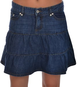 Denim Pleated Flared Skirt