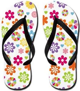 Flowered Flip Flops