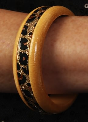 Wood And Leopard Print Bracelet