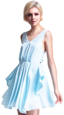 Light Blue Pleated Dress