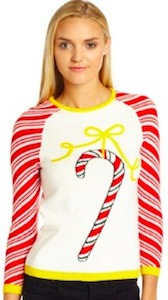 Girls Candy Cane Christmas Sweater