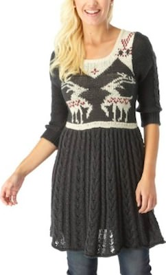 Grey Christmas Reindeer Dress