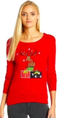 Red Reindeer and presents Ugly Christmas sweater