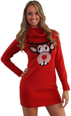 Bucktooth Rudolph Sweater Dress