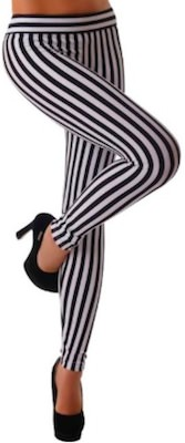 Black And White Vertical Striped Leggings