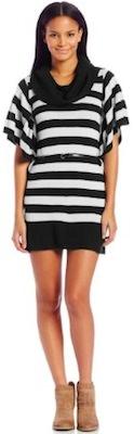 Striped Short Sleeve Cowl Neck Sweater Dress