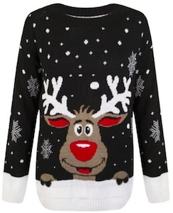 Black Reindeer Ugly Christmas Sweater