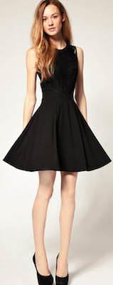 Black Retro Lace Black Dress