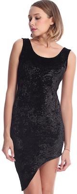 Asymmetric Black Velvet Dress