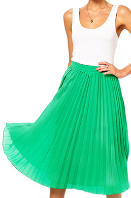 Green Layered Pleated Chiffon Skirt