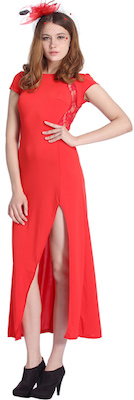 Long Red Dress with Split And Lace