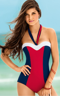 Blue And Red Strapless Bathing Suit