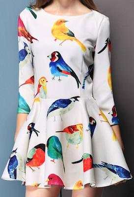 White Bird Print Dress