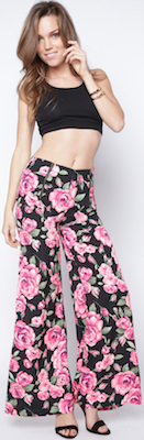 Wide Leg Trousers with Roses