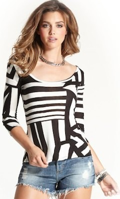 Guess Women's Long Sleeve Black Stripes Top