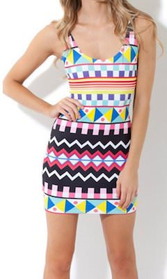 Funky Shapes And Colors Tank Top Dress
