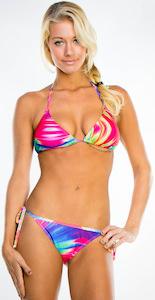 tie die triangle bikini