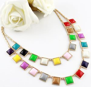 Colorful Rhinestone Squares Necklace