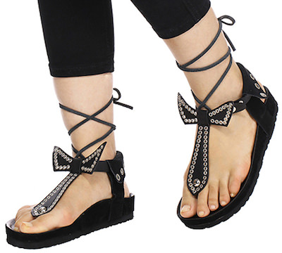 Black T Shaped Sandals