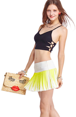 fun summer skirt in yellow and white
