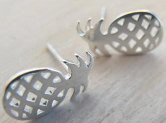 Sterling Silver Pineapple Shaped Earrings