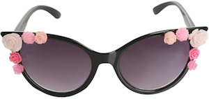 Black Floral Cateye Sunglasses