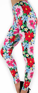Red flower design leggings