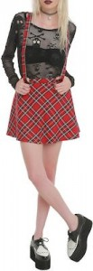 Red Plaid Skirt With Suspenders