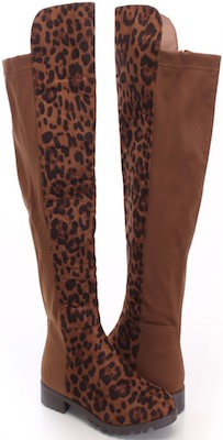 Brown Leopard Print High Boots