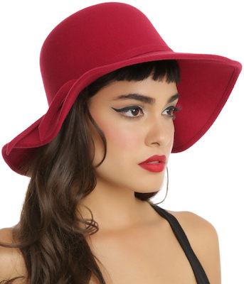 women's red felt floppy hat