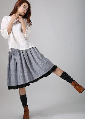 Grey Midi Skirt With Black Hem