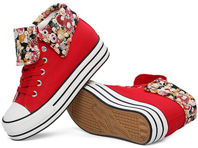 Red Canvas Sneakers With Flower Panels