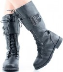 Black mid calf lace up women's boots