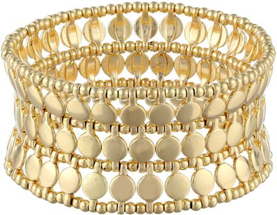 Gold Flat Disk Stretch Bracelet