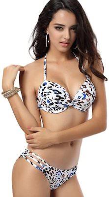 Girls White Leopard Print Bikini