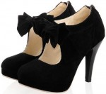 Black Platform heels With Bow