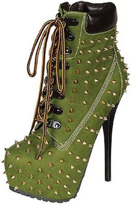 Green Studded High Heeled Boots
