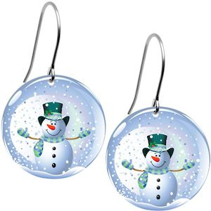 Cute Christmas earrings with a snowman snow globe design