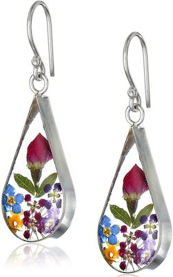 Pressed Flowers Teardrop Earrings