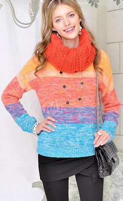 Light Colored Banded Women's Sweater