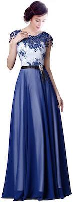 Long Chiffon Floral Formal Evening Dress