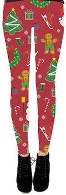 Red Christmas leggings