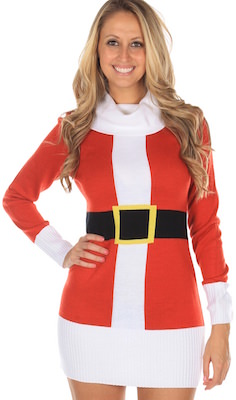Santa Christmas Costume Sweater Dress